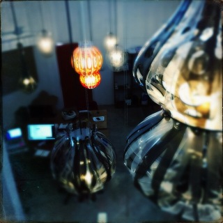 Light sculptures over the design studio