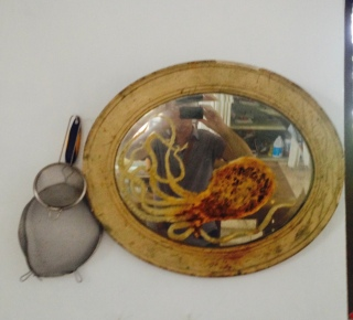 Guillermo Olguin Octopus on Antique Mirror in his kitchen studio