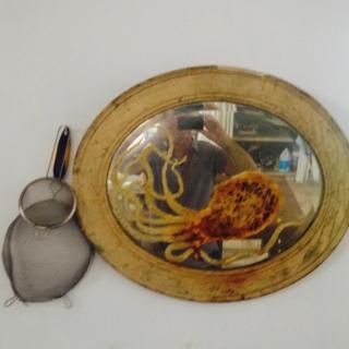 Guillermo Olguin Octopus on Antique Mirror in his kitchen studio