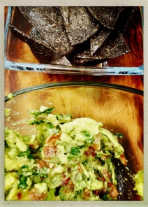 guacamole and fresh blue corn chips